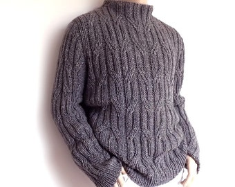 Men's sweater Chunky Knit Gray cabled pullover Smocked Grey Loose fit oversized unisex sweater