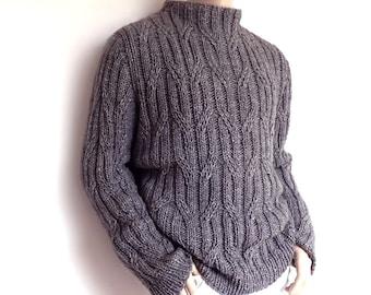 Herren Pullover Chunky Knit grau verkabelt Pullover, Smok grau lose unisex Pullover passen