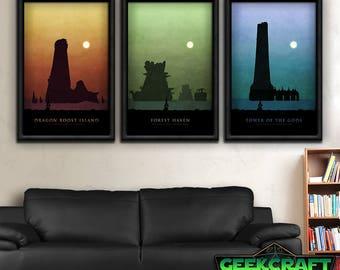 Wind Waker, Zelda Art, Zelda Prints, Zelda Game, Zelda, Link, Zelda Poster, Legend of Zelda, WW, Forest, Tower, Dragon Roost, Print Set