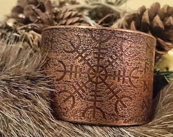 Havamal 77 Runes/Helm of Awe Cuff Bracelet Armband (Copper Large)