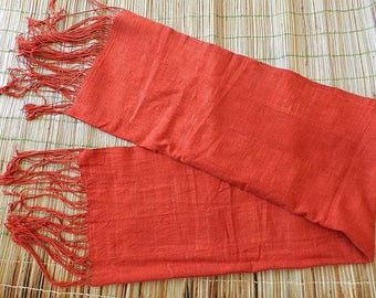 Royal red luxury vintage Bogolan / scarf, shawl, luxury sarong / 153 x 60 cm (60.24 x 23.62 inches)