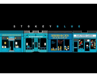 Stoke Newington Poster - Colour Coded Stokey. Independent shops of London - Matte and Giclee Art Prints - Posters of Hackney London