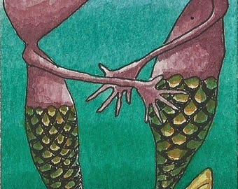 ACEO. Artist Trading card. Original artwork. 'Encounter under the sea'
