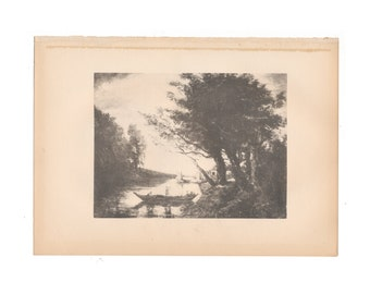 Antique print of a Jean-Baptiste-Camille Corot landscape from 1915 history book - Free US Shipping