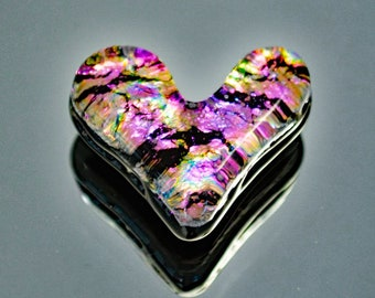 Dichroic Cabochon, Heart Cabochon, Jewelry Cabochon, Fused Glass Heart Cab, Mosaic Tile, Mosaic Heart Tile, Glass Heart, Small Heart Tile