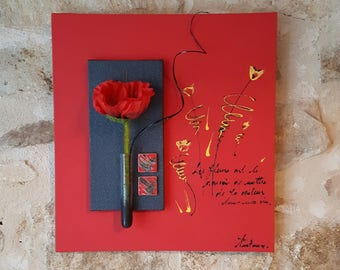 Red floral painting with poppy and quote