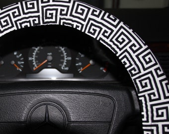 Steering Wheel Cover ,  Black and White towers   wheel Cover .Car accessories . Womens wheel cover