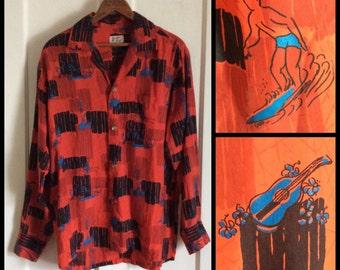 Vintage 1950s Silk Long Sleeve Hawaiian Surfer Ukulele Patterned Loop Shirt looks size Mens Medium