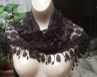 Vintage brown mesh dotted fringed scarf, brown mesh scarf neck wrap, multi purpose brown mesh dotted fringed scarf sash wrap