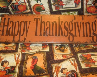 Happy Thanksgiving Sign / Give Thanks Sign / Primitive Sign / Wood  Harvest Gathering Pumpkins HAPPY THANKSGIVING Holiday Fall Harvest Sign