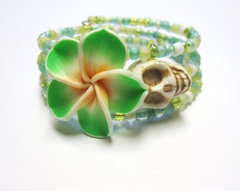 Sugar Skull Bracelet Day Of The Dead Jewelry Wrap Green White Yellow Hibiscus
