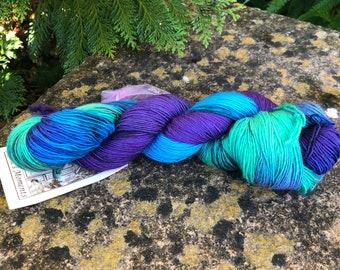 "100grms hand painted merino/silk yarn"" northern lights """