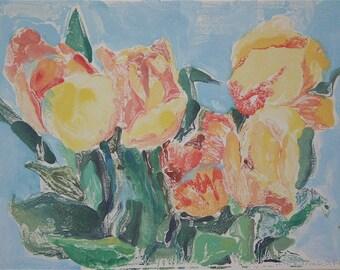 Watermedia original print yellow orange greens eggshell aqua monoprint water media  tulips flowers l nature  OOAK