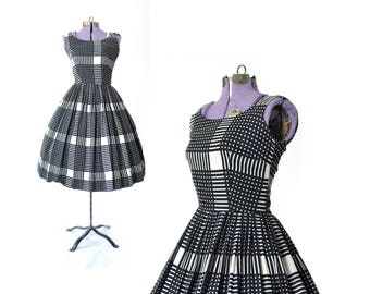 XS 1950s Dress 1950s plaid Dress small Vintage Dress Party Dress 60s 50  dress Dress vintage dress vintage clothing day dress dress