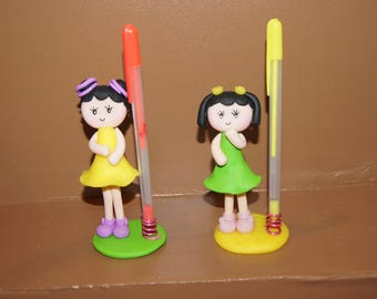 Pencil holder girls with polymer clay