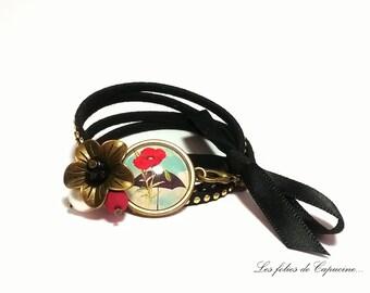 Black suedine cord •COQUELICOT under PARAPLUIE• Cabochon bracelet