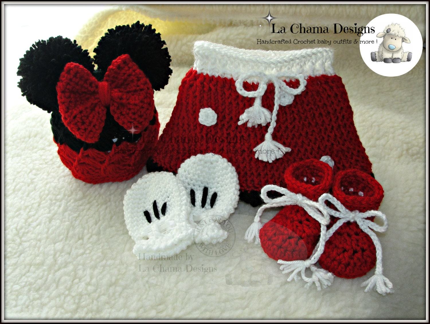 Minnie Mouse crochet outfit. Crochet outfit. Mickey Mouse
