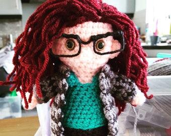 Personalised crochet cuddle toy doll. (20cm/8inc.)