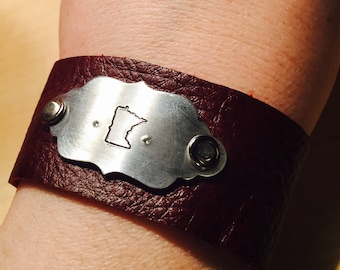 Minnesota State Leather Cuff bracelet