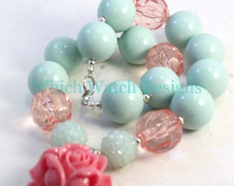 Mint Rose.. Chunky Mint Blue-Green and Rose Pink Toddler Bubblegum Necklace, Rose Pendant