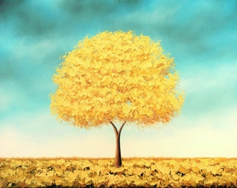 Tree Print, Golden Tree Art Print, LIMITED Edition Giclee Print, Pretty Wall Art, Whimsical 16x20 Print of Oil Painting, Modern Landscape