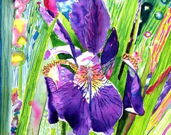 Purple Iris Fine Art-Art Print-Original Watercolor-Floral-FRAMEABLE ART-Gliclee-Wedding-Home Decor-Collectibles-Wall Decor-Purple Iris