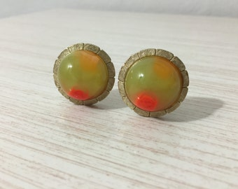 Fabulous Pair of Mid Century Marbeled Chartreuse And Bright Orange Lucite Clip On Earrings