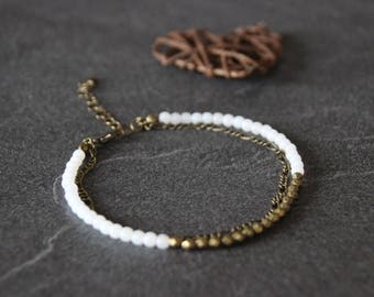 Anklet, ethnic boho Bohemian MULTISTRAND bracelet, white glass beads, bronze metal chain