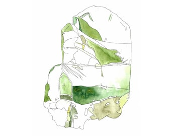 OLIVINE (PERIDOT) - print of mineral watercolor painting
