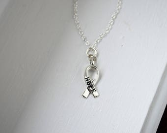 Silver Tone Cancer Symbol awareness charm - Hope - Fight for Life - Cancer - Sterling Silver or Silver Tone Chain
