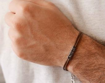 Men's Engraved Bracelet - Men's Personalized Bracelet - Men's Custom Bracelet - Message Bracelet - Husband Gift - Anniversary Gift
