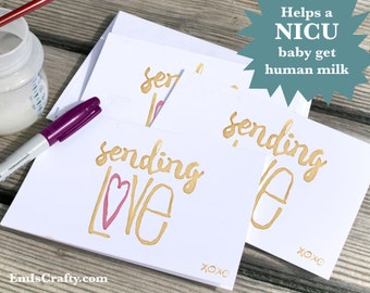 Sending Love | Condolence Sympathy Card. Buy a Card, Feed a Baby. A6 - various quantities - includes envelopes.