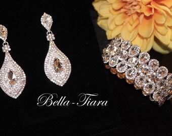 bridal earrings, crystal earrings, wedding earrings, long drop earrings, wedding jewelry, crystal jewelry set, prom earrings