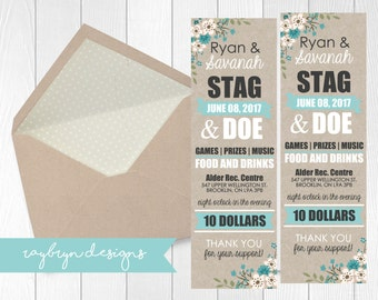Stag & Doe Ticket Invite - kraft paper with soft teal accent and floral detail- printable file