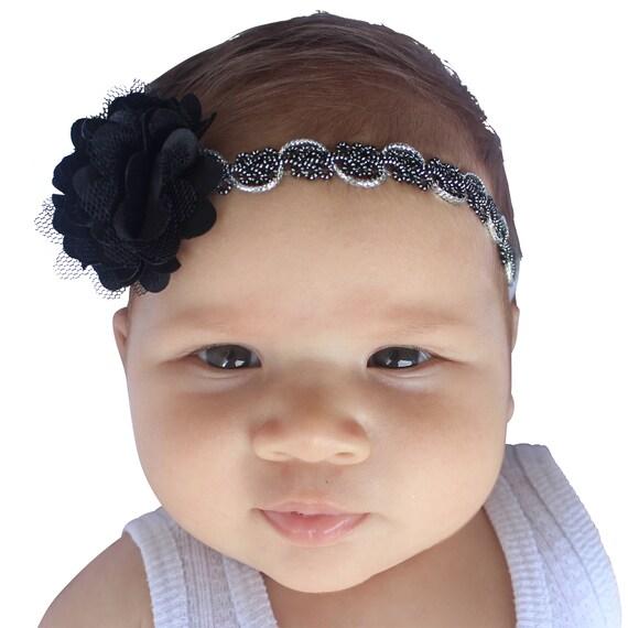Black HeadbandFlower Headband, Baby Headband, Black Headband, Black Flower Headband, Flower Girl Headband, Baby Headband, Newborn Headband