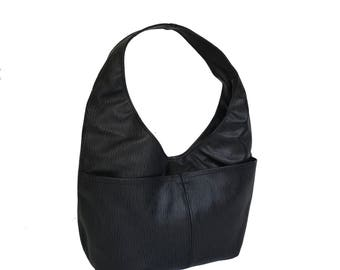 Black Leather Hobo Bag, Hobo Purse, Original Print Shoulder Handbag, Leather Purse, Handmade Bags and Purses, Women Bags, Fashion Bag Alicia