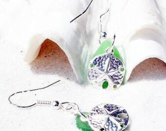St Patricks Day Earrings, Sea Glass Earrings, Green Glass Earrings, Seaglass Jewelry, Starfish Jewelry,  Gift for Her