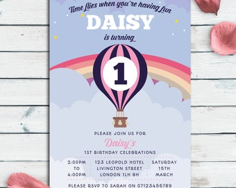 1st Birthday Invitation, Digital File, PDF, DIY, 1st party invitation, girls Birthday Invitation, first birthday printable, hot air balloon