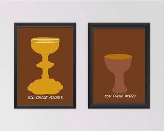 Indiana Jones Art Print | 5 x 7 | Movies | Last Crusade | Steven Spielberg | Adventure | Holy Grail | 80s | Movies | Pop Culture