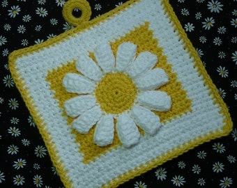 Daisy Potholder Crochet PATTERN - INSTANT DOWNLOAD