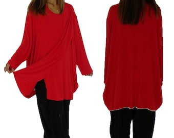 HP400R Tunic Top Layered jersey Gr. 38-54 Red