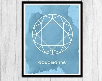 Aquamarine Print Instant Download Gift for March Birthday Aquamarine Art Birthstone Art Birthstone Print Digital Download March Printable