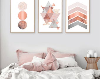 Printable art, Downloadable prints, Set of 3 Prints, Wall Decor, Scandinavian, Blush pink, Copper, Rose Gold, Poster, Wall art, Trending Now