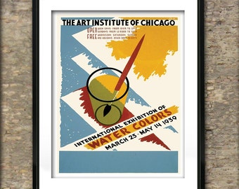 Vintage Art Institute of Chicago Water Colors Poster Art Print different sizes available