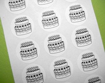 "Birthday Cake Sticker -  1"" One Inch Round Sticker Envelope Seals - B&W, Sheets of 15 - by Blossom Arts"