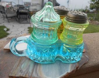 Antique Three Color Condiment Holder