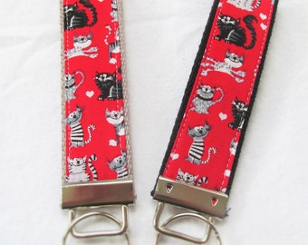KeyFob Key Chain Wristlet - Cats - Black and White Cats on Red - Fabric Keychain