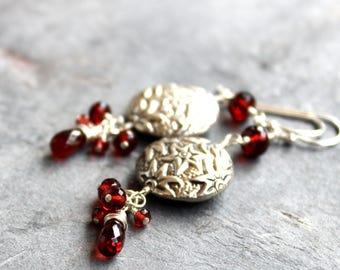 Statement Garnet Earrings Bali Beads Stars Long Dangling Red Gemstone Earrings Sterling Silver
