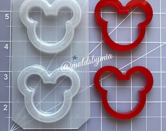 ON SALE Mouse head silhouette flexible plastic resin shakers mold set ~  (2 cavity)