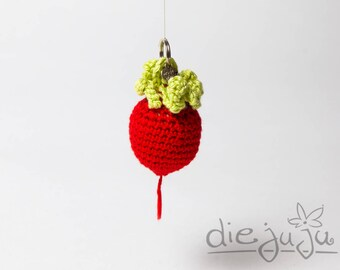 Keychain radish radish red light green crocheted crochet